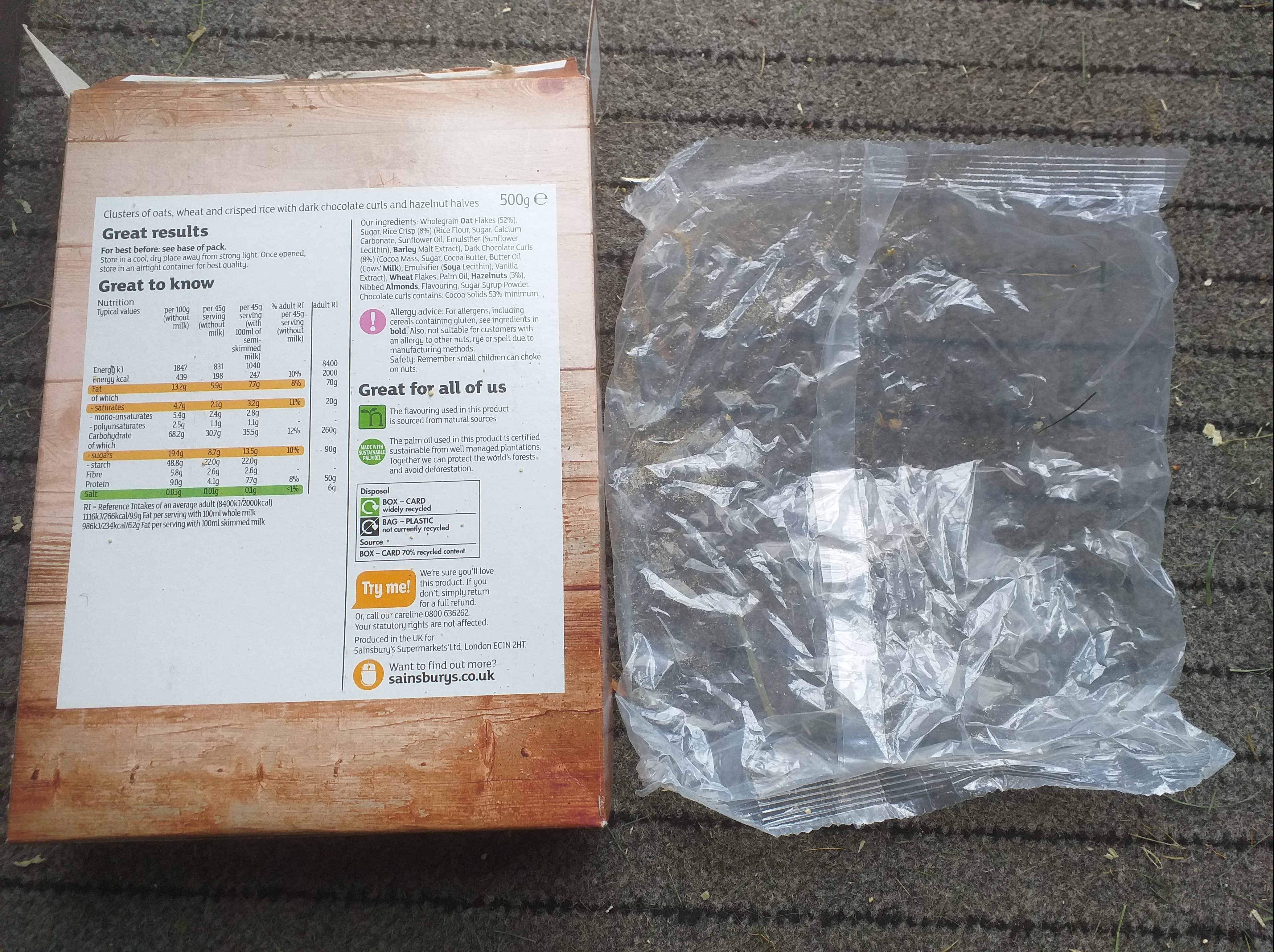 Cardboard can be recycled, but not the film bag inside covering the cereal