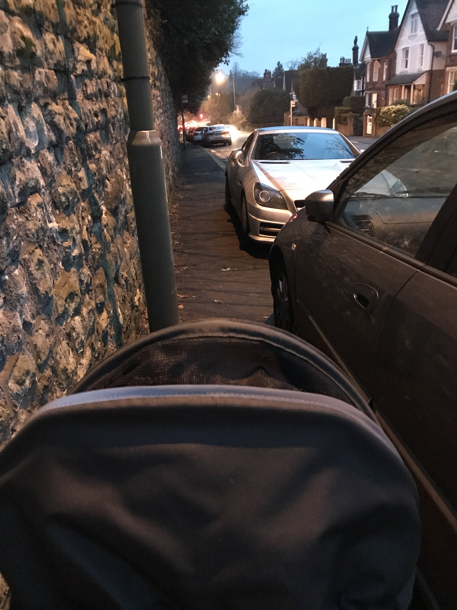 Cars can not only block cycle lanes but pavements at the same time